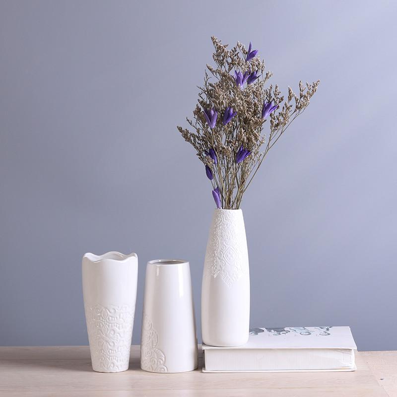 欧式白色花瓶陶瓷客厅装饰品创意摆件现代家居简约文艺插花装饰品图片