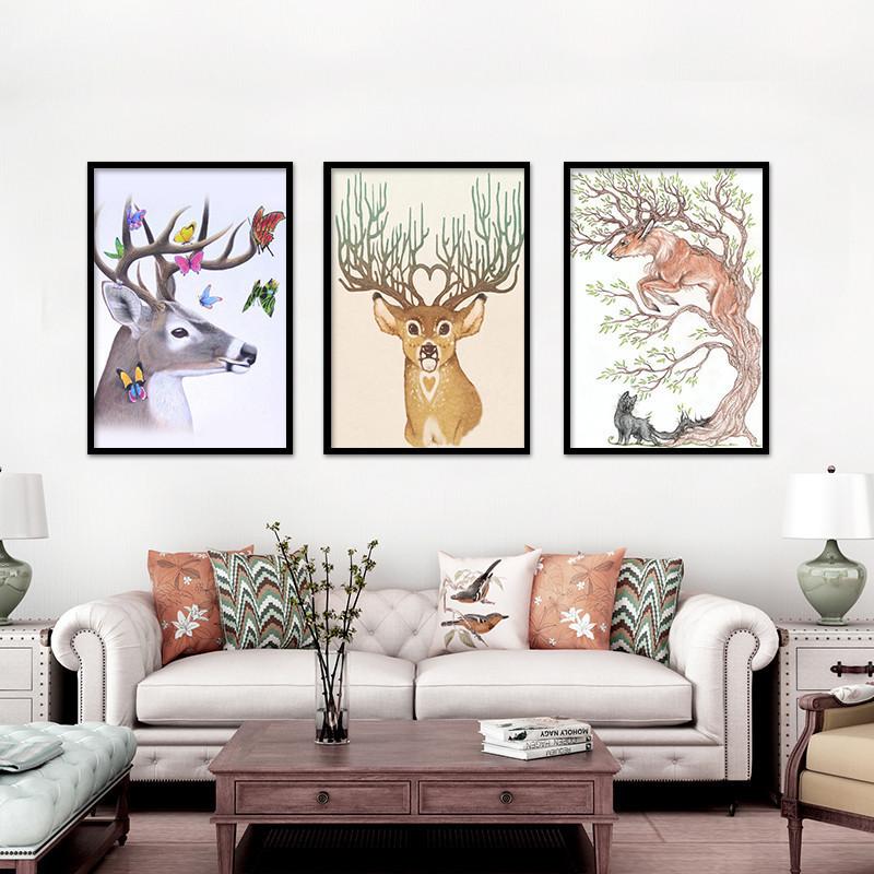 欧式沙发背景墙壁画有框画客厅装饰玄关麋鹿挂画单幅