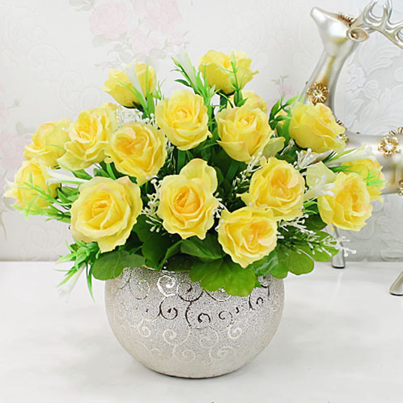 仿真花束套装欧式客厅室内茶几餐桌摆设卧室桌上装饰摆件塑料假花盆栽