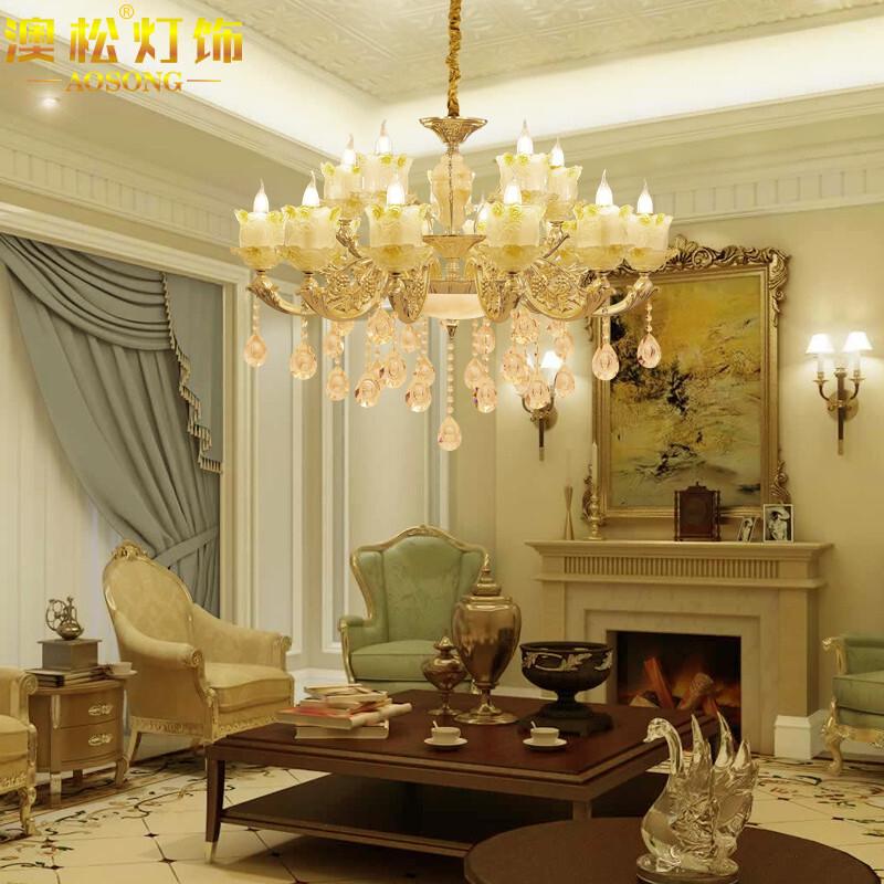 澳松歐式吊燈水晶燈大氣客廳餐廳燈飾臥室鋅合金蠟燭燈具后現代簡歐復