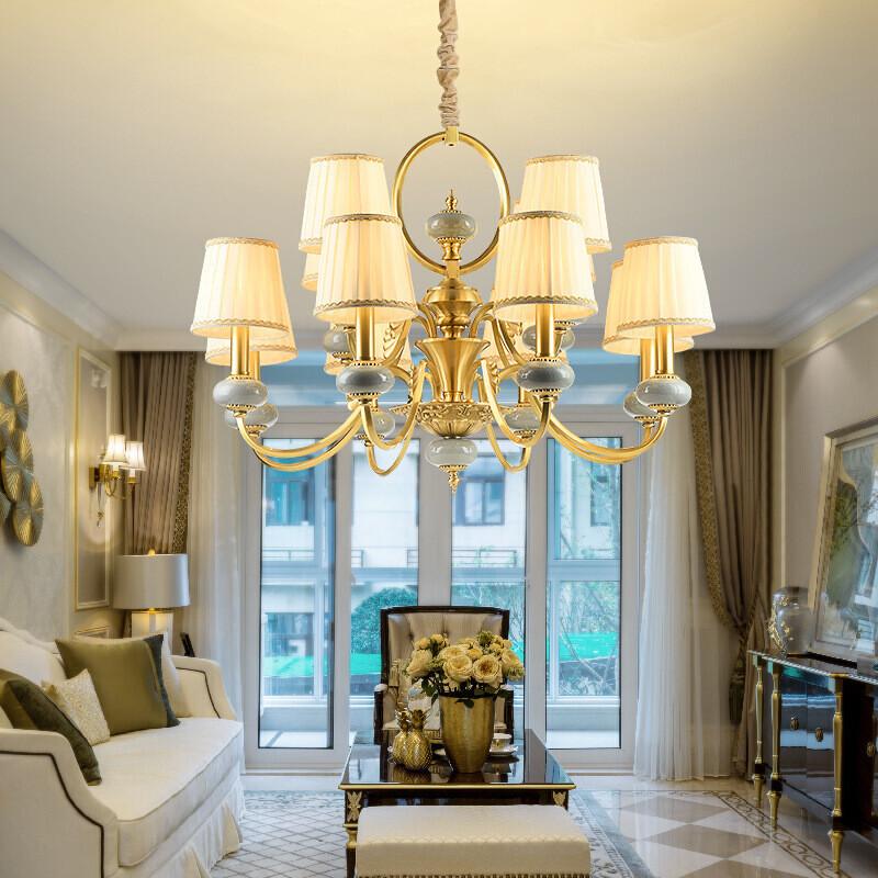 澳松欧式全铜吊灯大气客厅灯美式卧室灯现代简约创意水晶灯法式餐厅灯图片