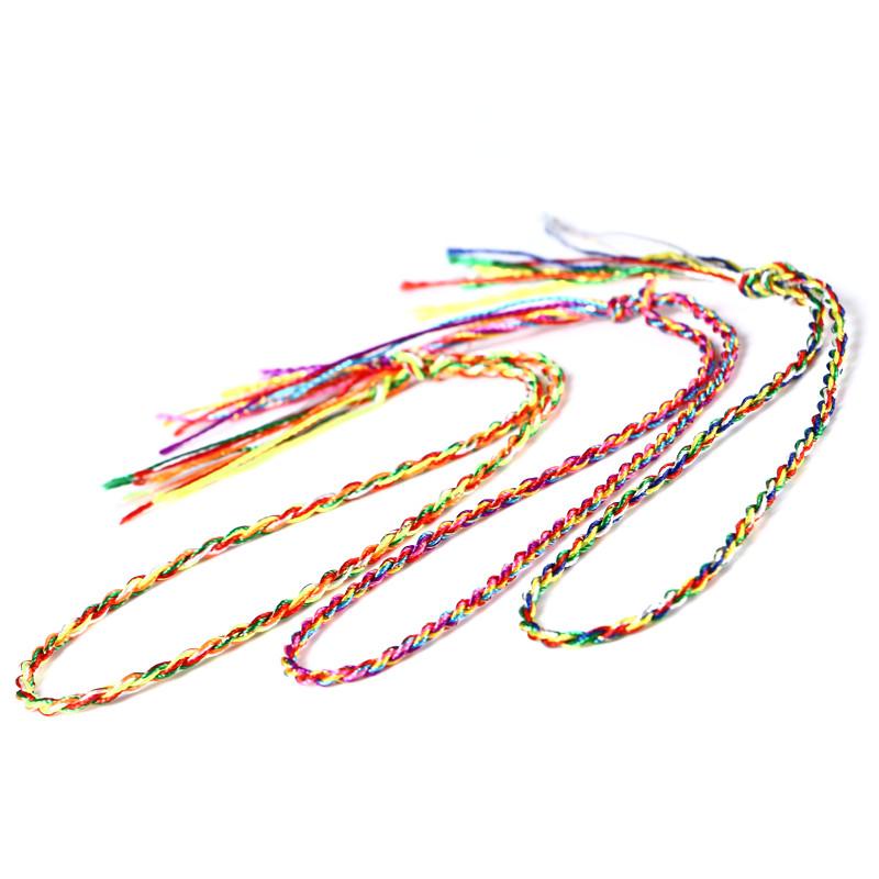 安乐因 端午节手工编织五彩手链手绳五色线脚链金刚结
