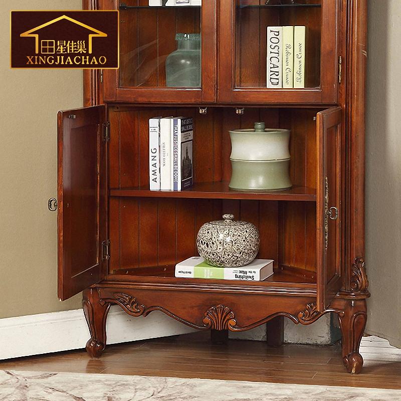 欧式书柜 角柜墙角柜三角柜 实木书柜 美式书架 圆弧置物架 书橱