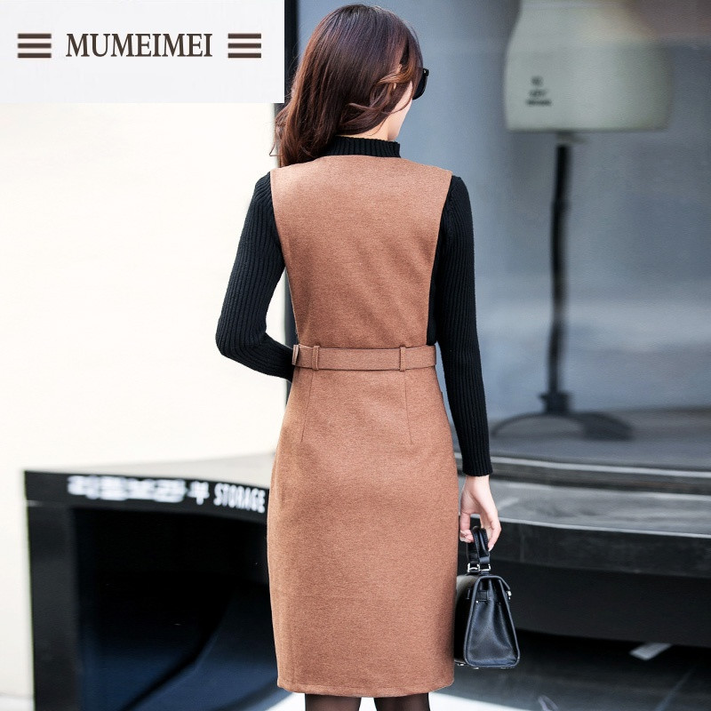 mum2016秋冬背带裙长袖针织连衣裙两件套修身韩版加厚