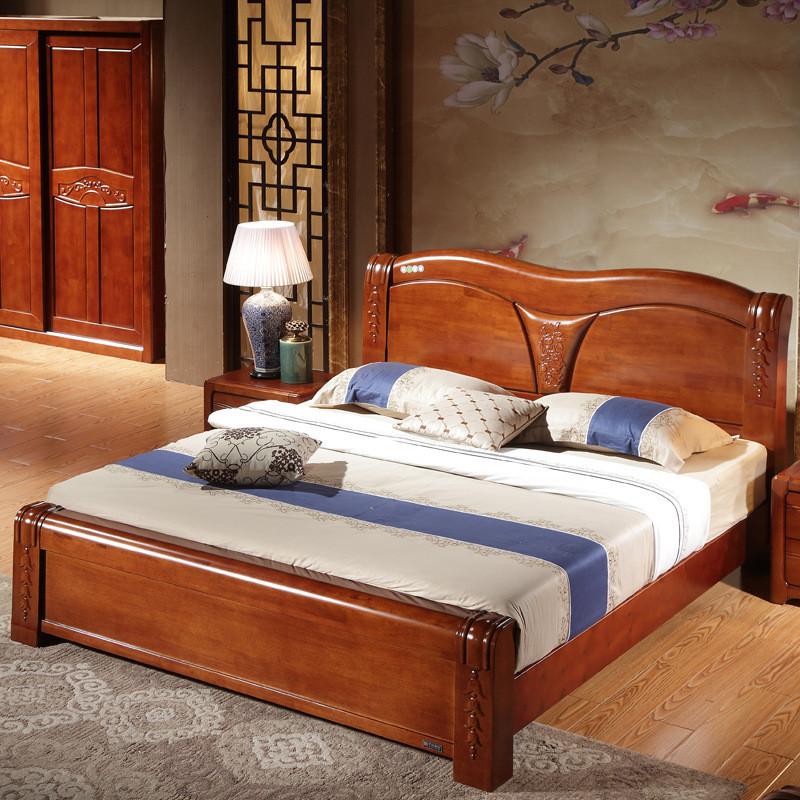 美梦居 实木床 原木家具 单人1.5 双人床头1.8米 高箱
