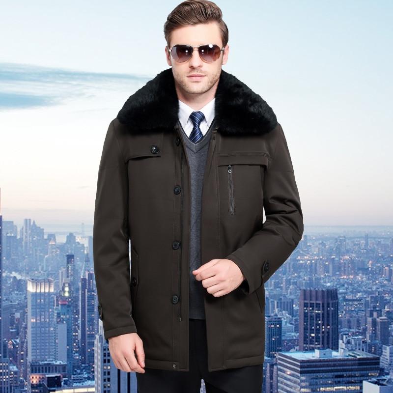 中老年羽绒服男冬季大毛领中长款可拆卸内胆爸爸装大码加厚羽绒服外套