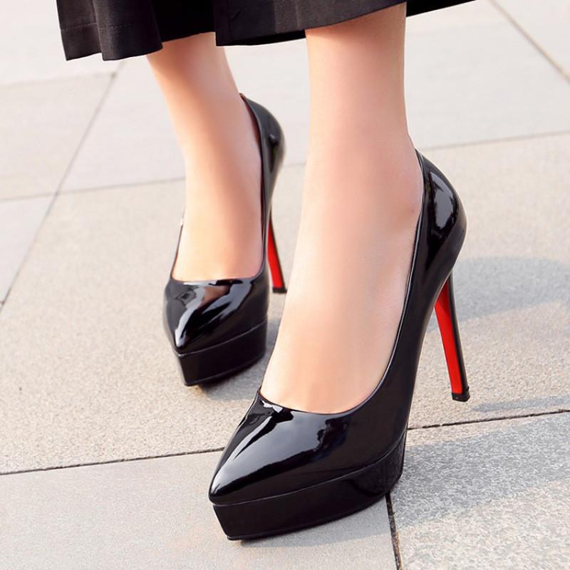 欧美漆皮防水台高跟鞋性感细跟头浅口女单鞋春秋新款工作鞋女