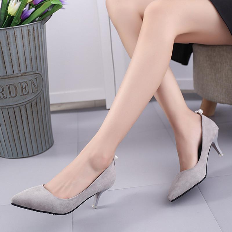 新款细跟高跟鞋-5-7厘米尖头百搭浅口性感鞋子绒面工作鞋单鞋女鞋
