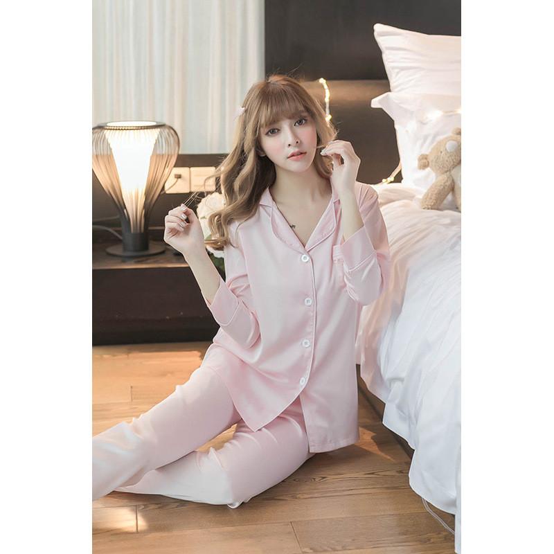韩国丝绸睡衣女夏季冰丝韩版长袖甜美清新可爱家居服套装春秋款