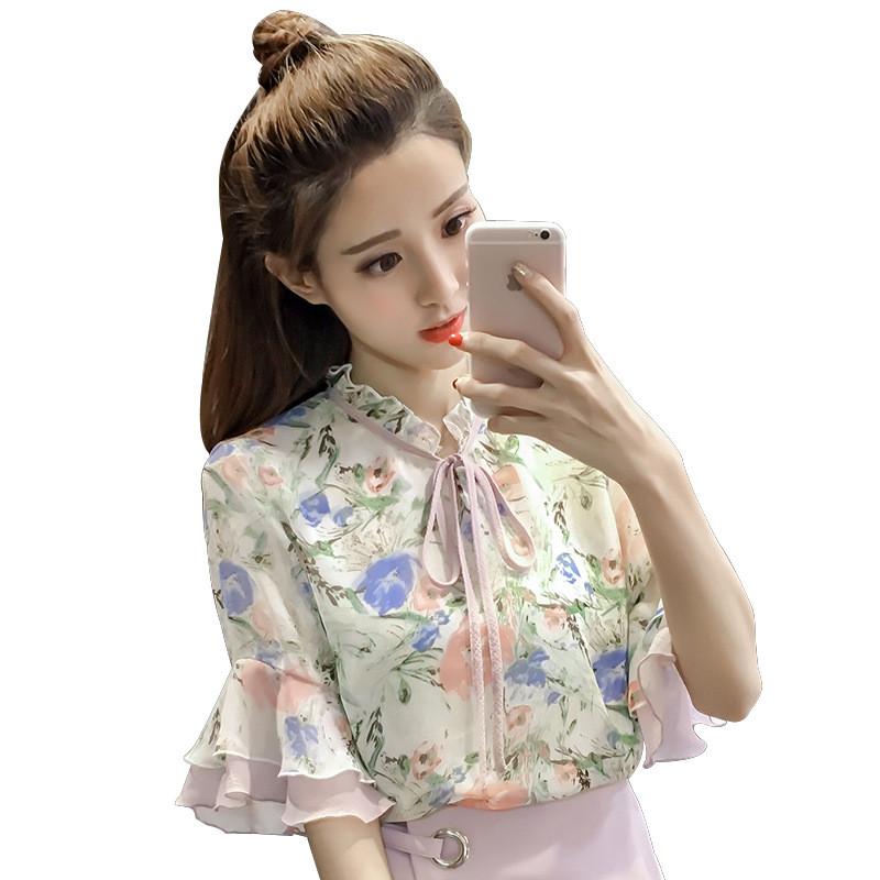 女装新�_2018夏季女装新款印花雪纺衫上衣系带v领喇叭短袖百搭