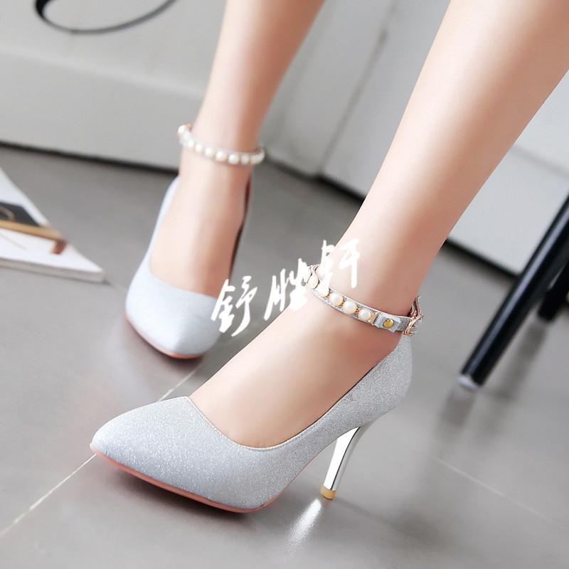 尖头珍珠细跟高跟鞋