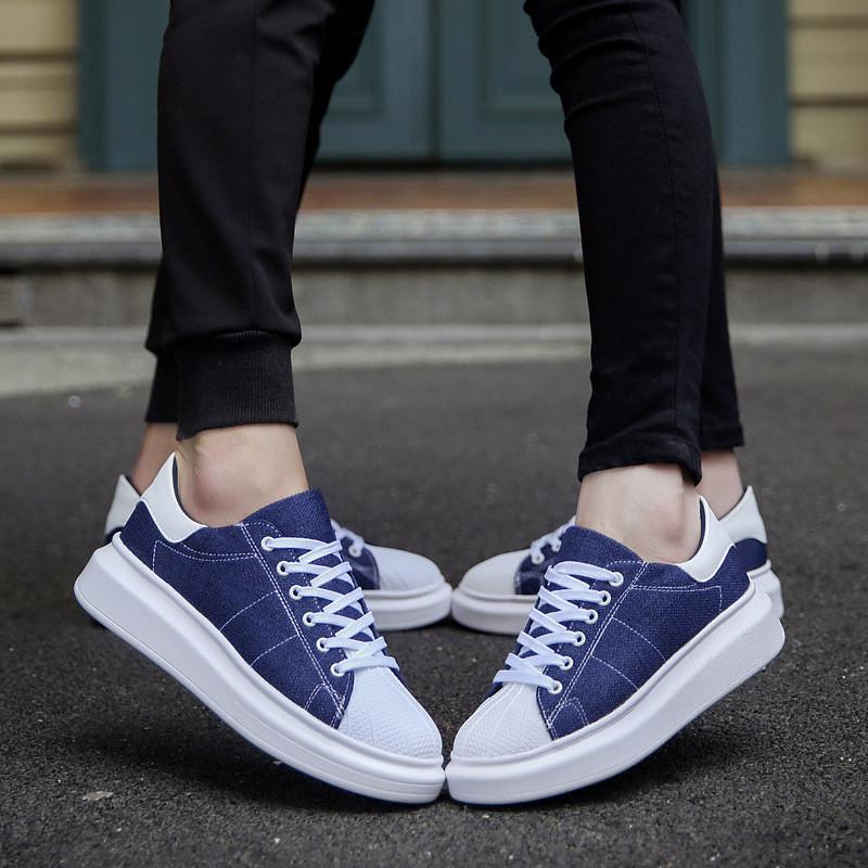 情侣鞋子透气韩版潮原宿风增高鞋帆布鞋男女学生休闲运动厚底板鞋