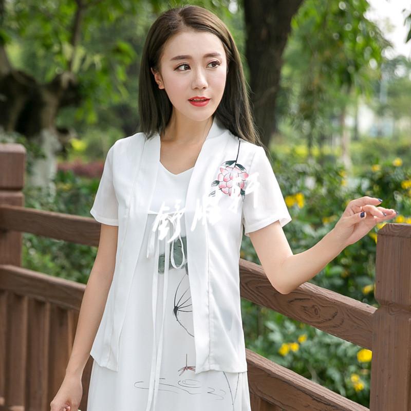 2017夏季新款文艺范手绘中国风女装雪纺衫民族风上衣衬衫开衫女