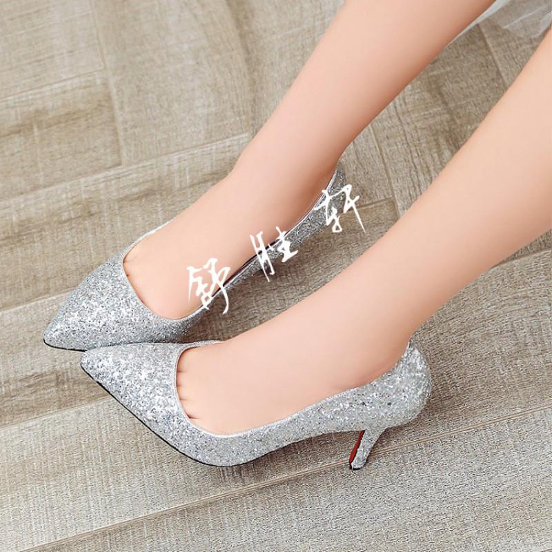 2017新款银色红色婚鞋新娘鞋婚礼水晶鞋细跟尖头高跟鞋亮片单鞋女