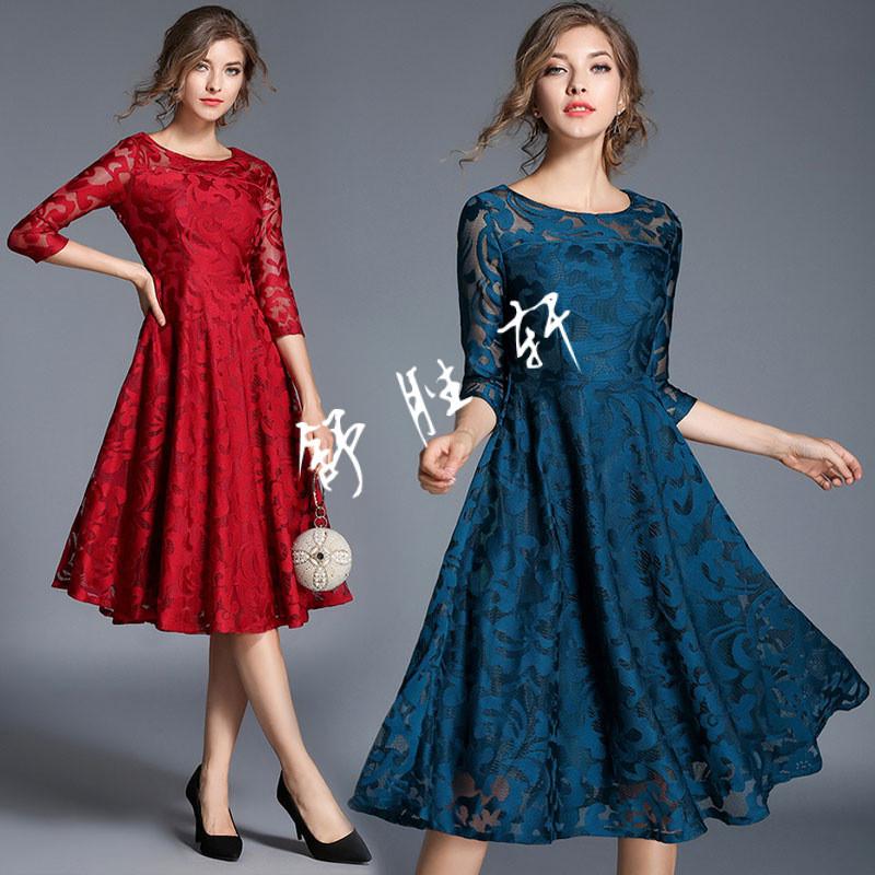 蕾丝裙七分袖