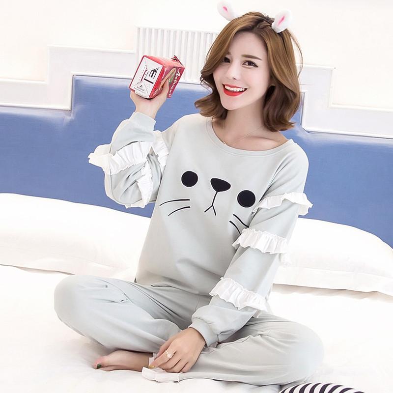 韩版新品女士纯棉长袖睡衣女秋 可爱卡通甜美全棉女生