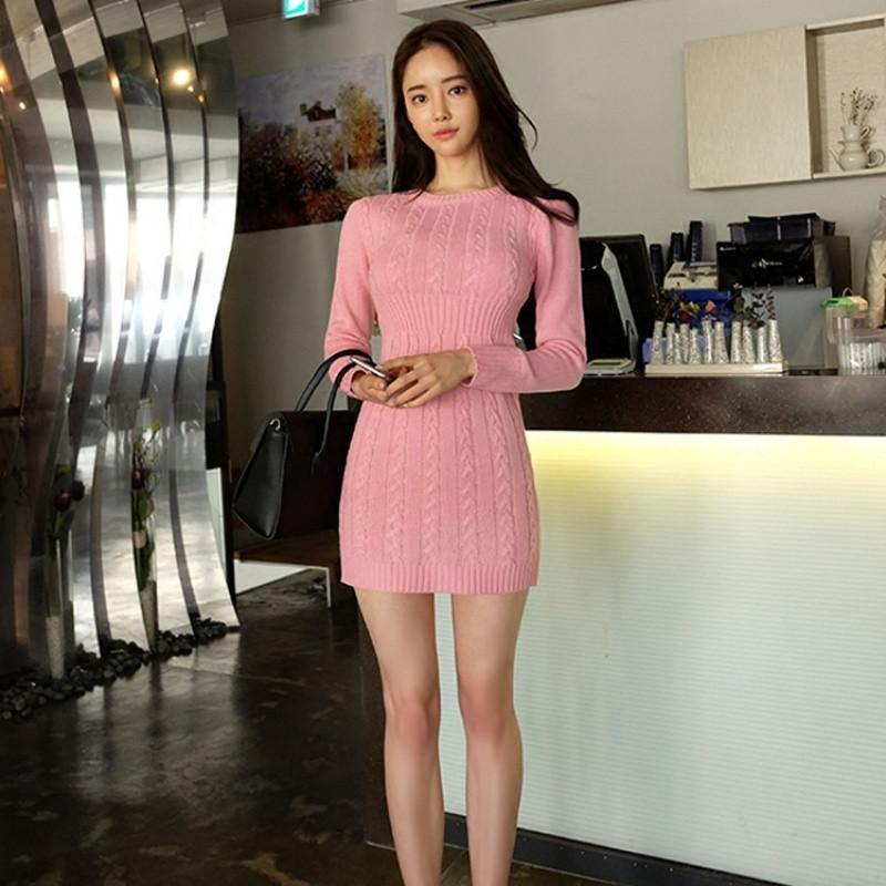 歌依图 秋冬新款韩版女装针织毛衣时尚修身包臀针织毛线连衣裙