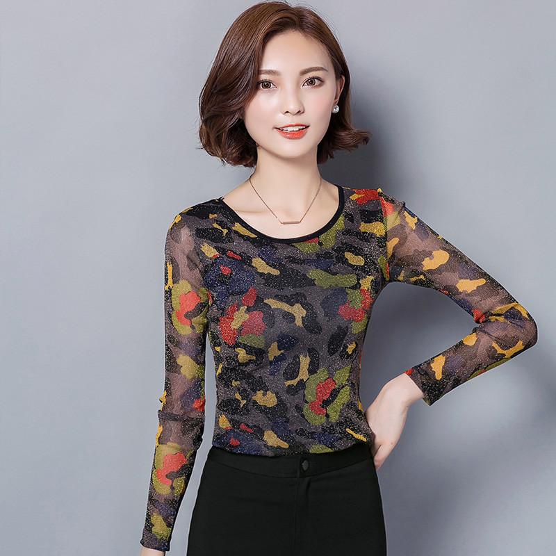 袖女_歌依图 ()2017春季新款网纱打底衫长袖女t恤