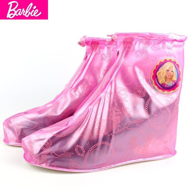 儿童雨鞋女童 芭比公主宝宝防滑水鞋女孩子便携胶鞋可爱学生雨靴