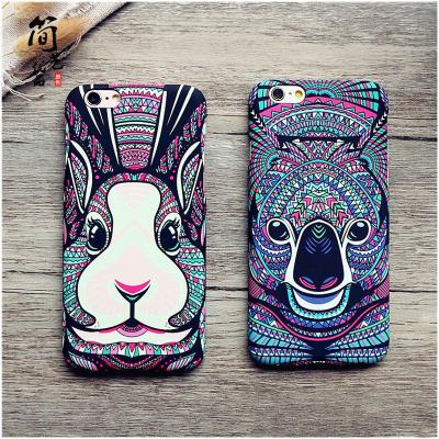 森林之王iphone6s plus磨砂手机壳 iphone6s磨砂手创意动物浮雕夜光