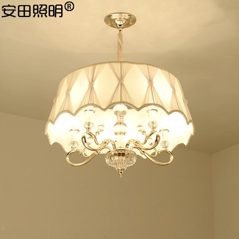简欧客厅吸顶吊灯 欧式圆形餐厅书房水晶布艺吊灯简约