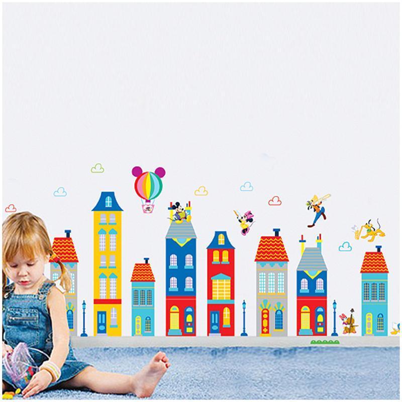 宜佳蕙可移除卡通楼房贴纸幼儿园儿童宝宝房贴画卧室装饰墙壁米奇墙