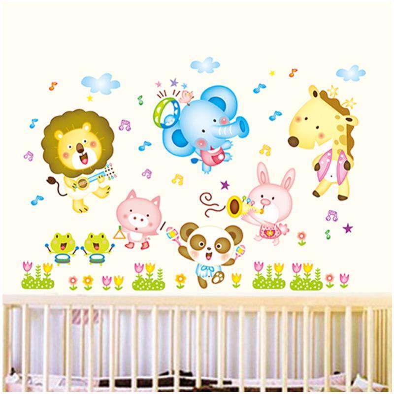 宜佳蕙儿童卡通小动物乐队幼儿园早教中心托儿所布置墙贴纸!