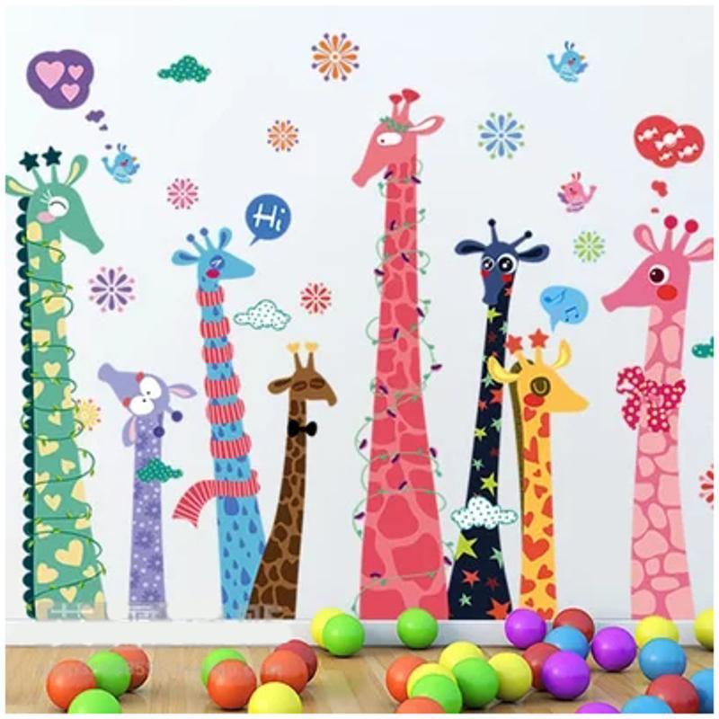 宜佳蕙可移除彩色长颈鹿动物儿童房幼儿园玻璃门窗卡通双面墙贴画墙