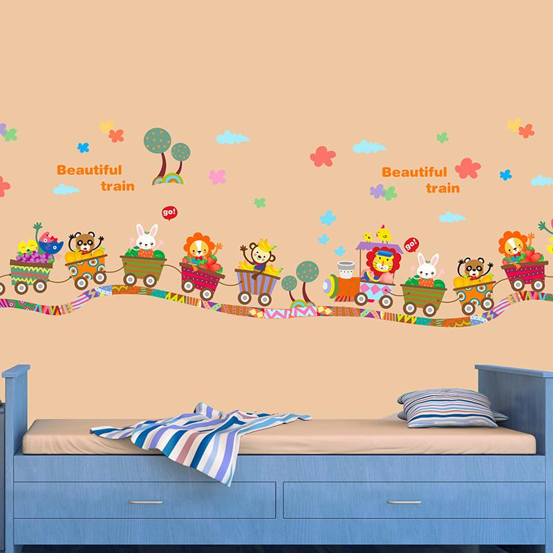 宜佳蕙可爱卡通动物火车贴纸环保卧室儿童房贴画幼儿园玻璃门窗双面