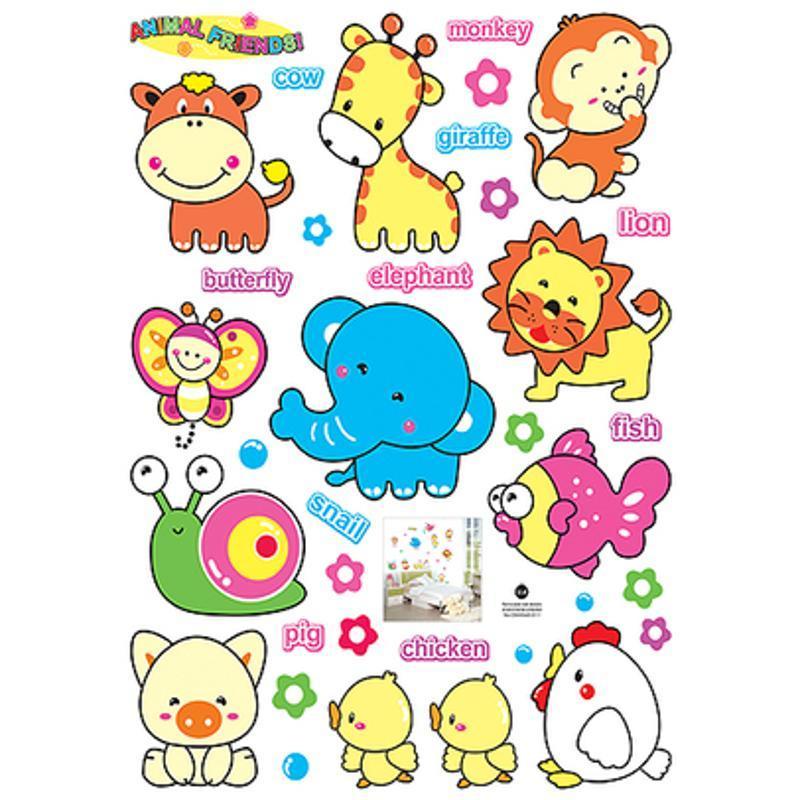 宜佳蕙三代可移除卡通儿童房贴纸幼儿园早教所可爱小动物玻璃墙贴画