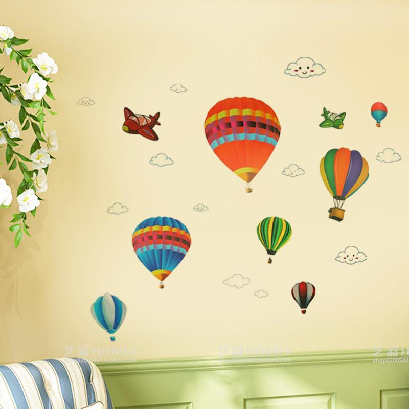 卡通热气球贴画儿童房墙面装饰品宝宝卧室墙壁贴纸自粘可移除墙贴