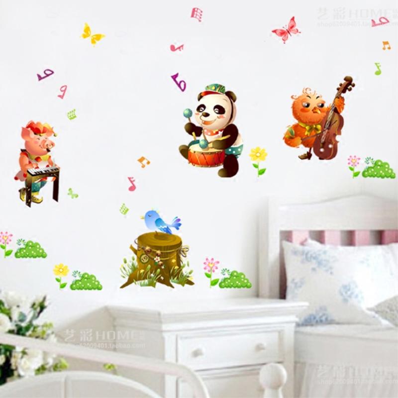 音符卡通动物墙贴儿童房间墙面装饰幼儿园墙上背景墙贴纸墙壁贴画