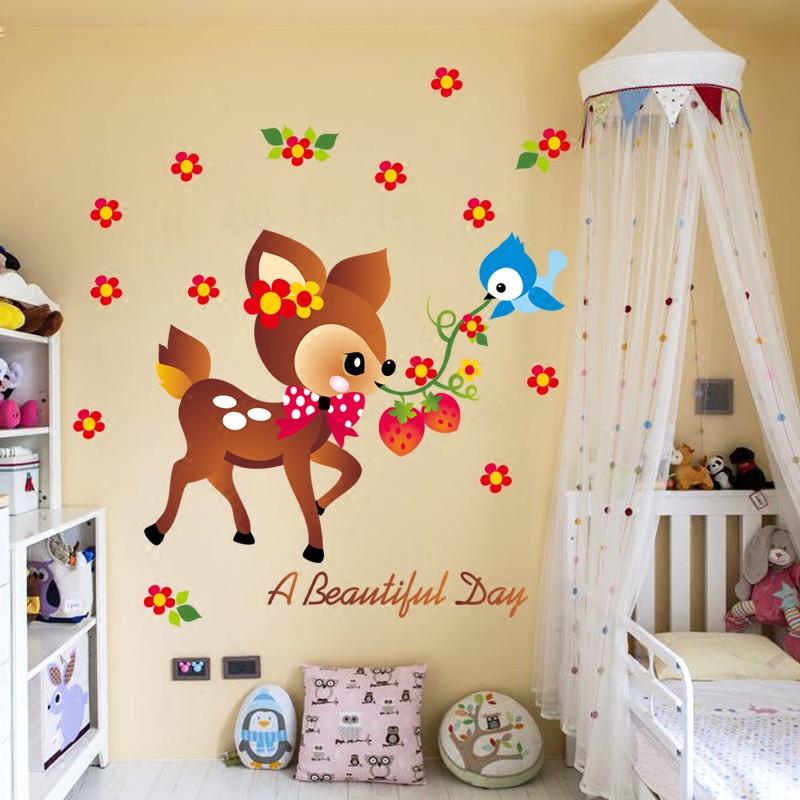 卡通儿童房防水墙贴纸 卧室幼儿园装饰背景墙壁贴画 小鸟梅花鹿