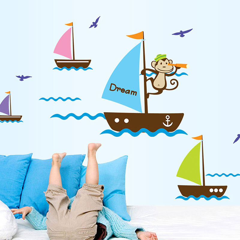 儿童卡通贴纸海上小船翻窗卧室校园儿童房背景装饰墙贴可移除贴纸