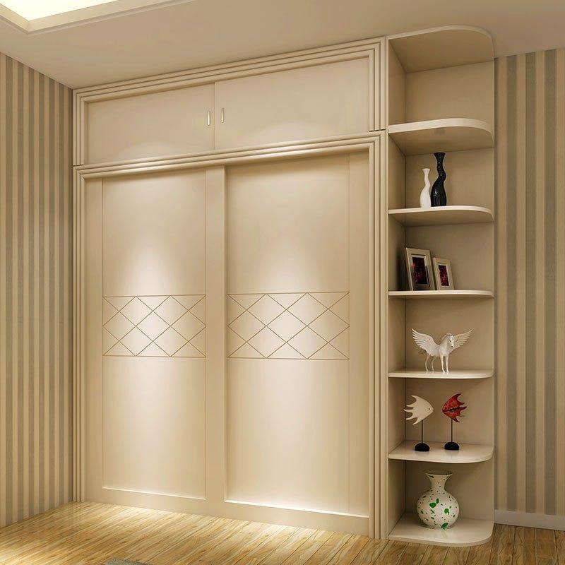 整体移门衣柜推拉门现代简约衣橱 卧室家具板式 趟门衣柜