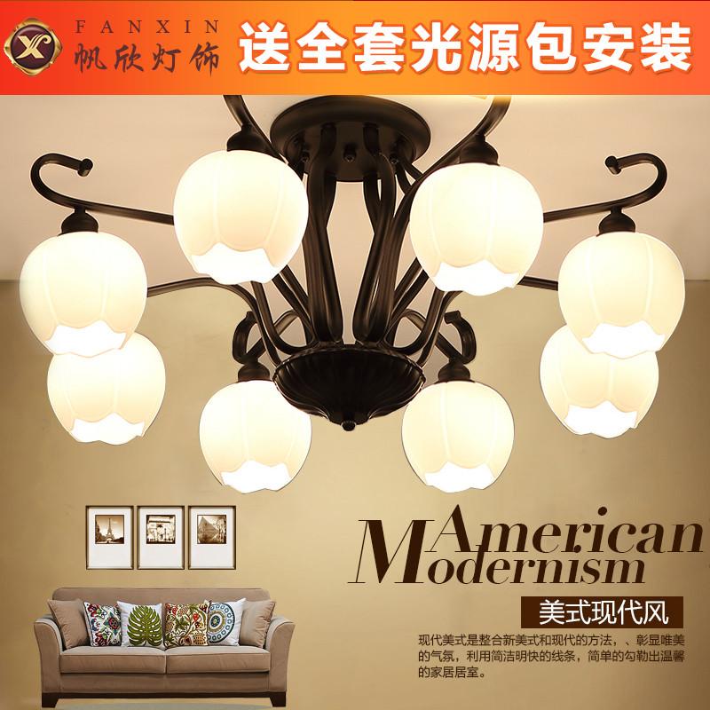 美式乡村吸顶灯led简约客厅灯现代北欧风铁艺灯厨房卧室灯具灯饰图片