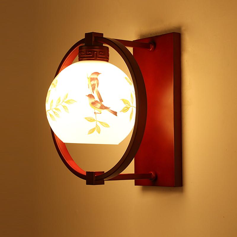 海斯銳 壁燈床頭燈客廳過道臥室燈新中式新古典紅木色