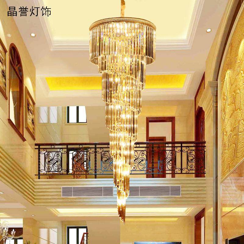 晶誉 复式楼大吊灯 酒店别墅欧式客厅水晶吊灯 现代楼梯灯 简约长吊灯