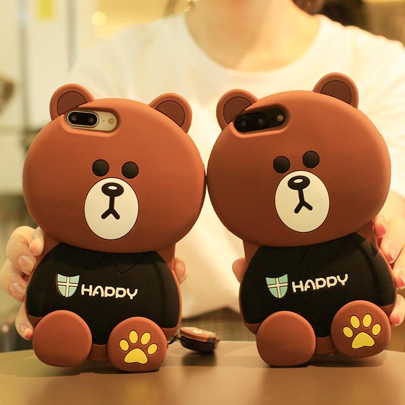新款7苹果8plus手机壳女款6s可爱5s硅胶iphonex卡通布朗熊6韩国x