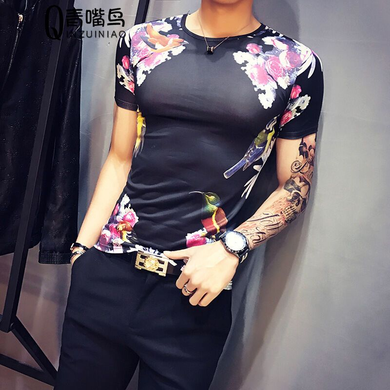 莞馨夏装韩版男士紧身纹身衣服印花图案短袖t恤日系林
