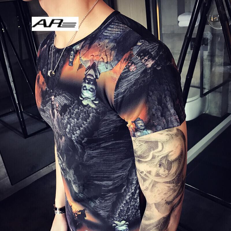 个性印花纹身衣服短袖t恤男修身圆领古惑仔霸气社会青年小伙紧身半截
