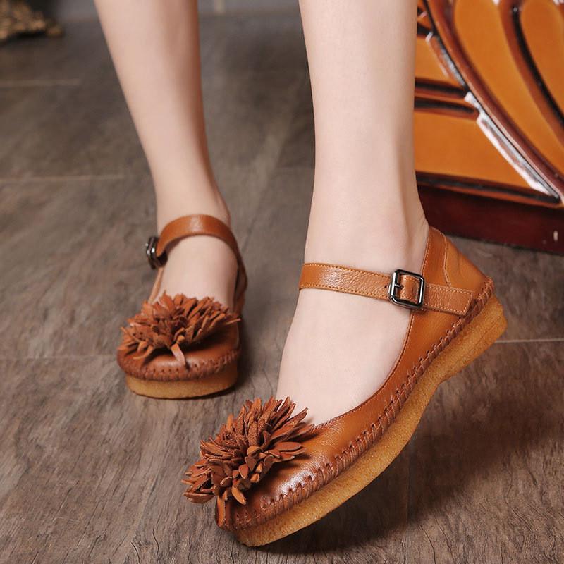 原创新款春季女单鞋手工森系女鞋牛皮擦色花朵浅口低帮四季鞋