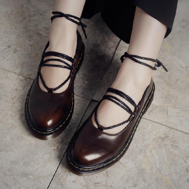 2017春季新款日系软妹鞋圆头小皮鞋松糕厚底鞋绑带单鞋复古女鞋子