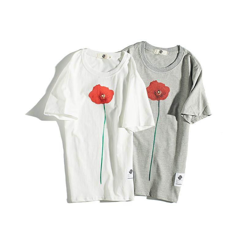 夏季新款小清新手绘印花圆领修身休闲短袖t恤男韩版半袖