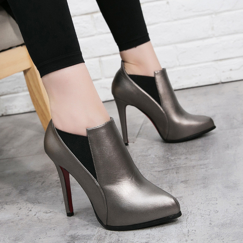高跟鞋女2017秋季新款细跟尖头单鞋防水台深口鞋工作鞋一脚蹬女鞋