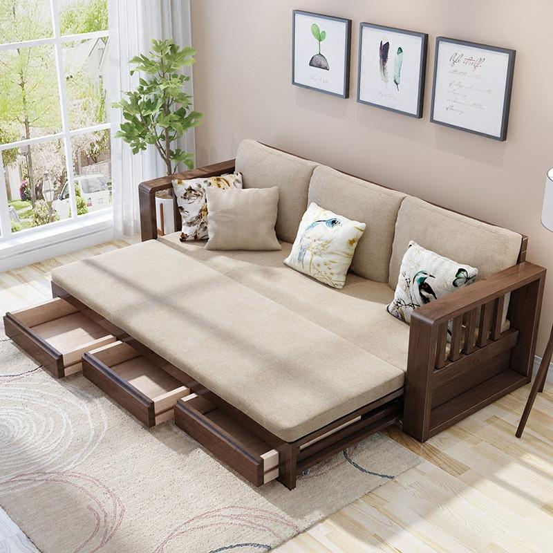 米莱克 沙发床实木沙发组合现代简约客厅家具多功能实木沙发床