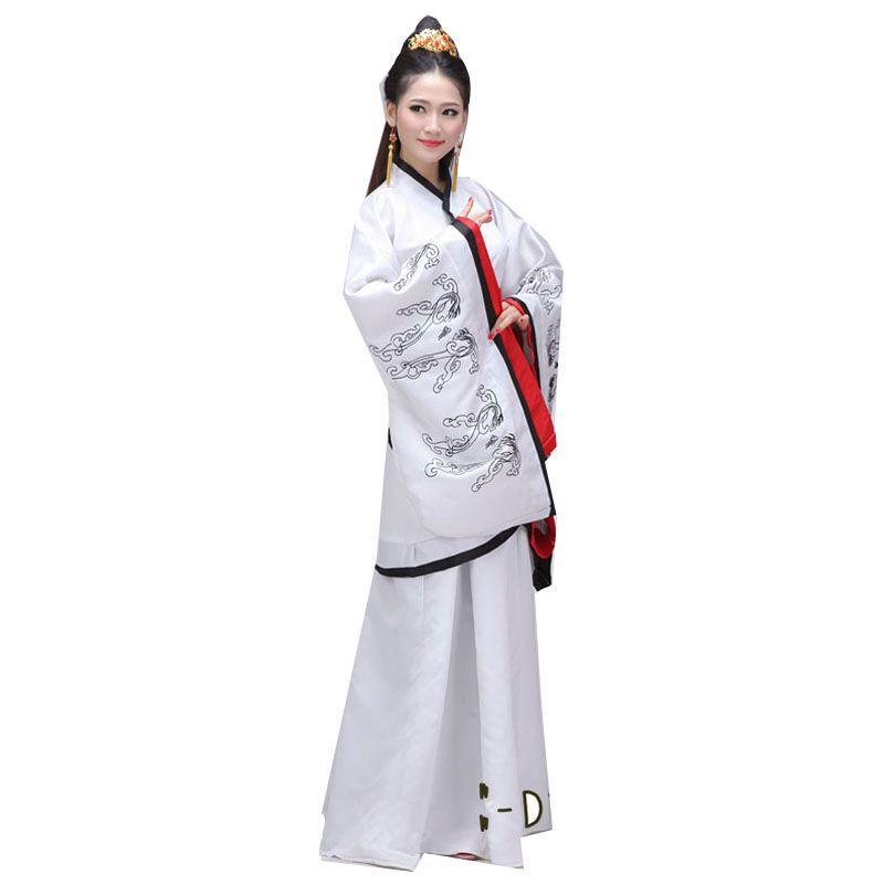 个性古代服装白色汉服女装单绕曲裾古装气质优雅仙女襦裙双绕唐装表