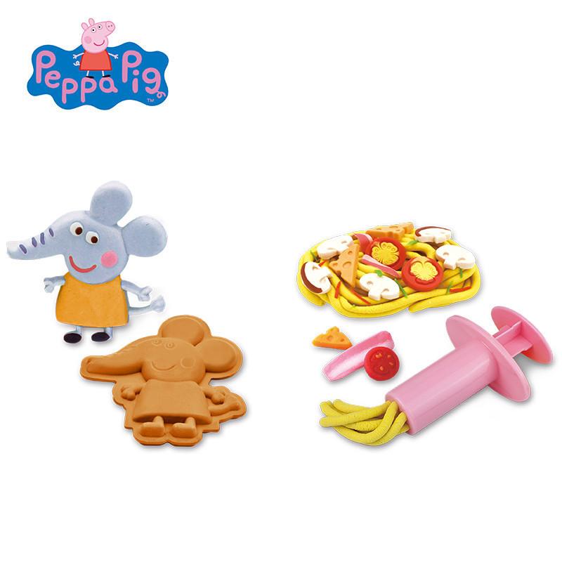 小猪佩奇玩具 超轻粘土彩泥橡皮泥套装 儿童无毒diy蛋糕面条手工食玩