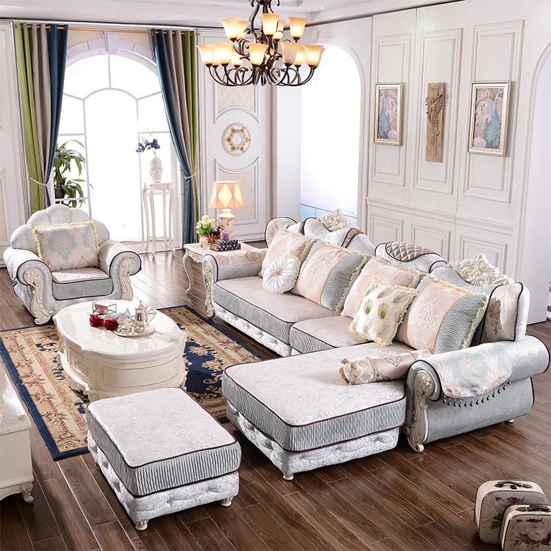 欧式沙发 布艺沙发组合贵妃客厅转角小户型可拆洗布沙发法式沙发图片