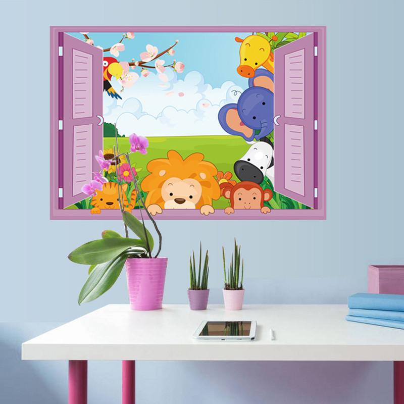 吉朵芸 狮子大象趴窗卡通可爱创意可移除pvc墙贴贴画儿童房卡通3d立体